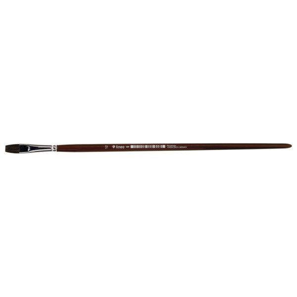 Handmade Oil and Acrylic brush, bright, pure brown ox hair, seamless nickel ferrule, long brown-lacquered handle.