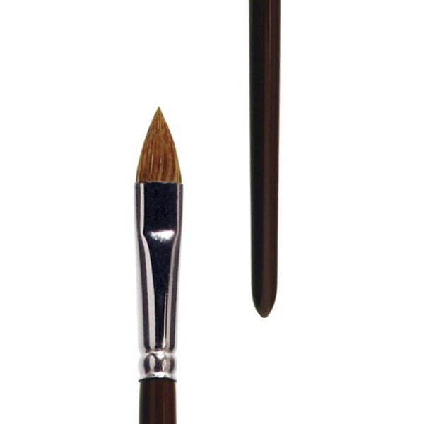 Handmade oil and acrylic brush, filbert, pure light ox hair, seamless nickel ferrule, long brown-lacquered handle.