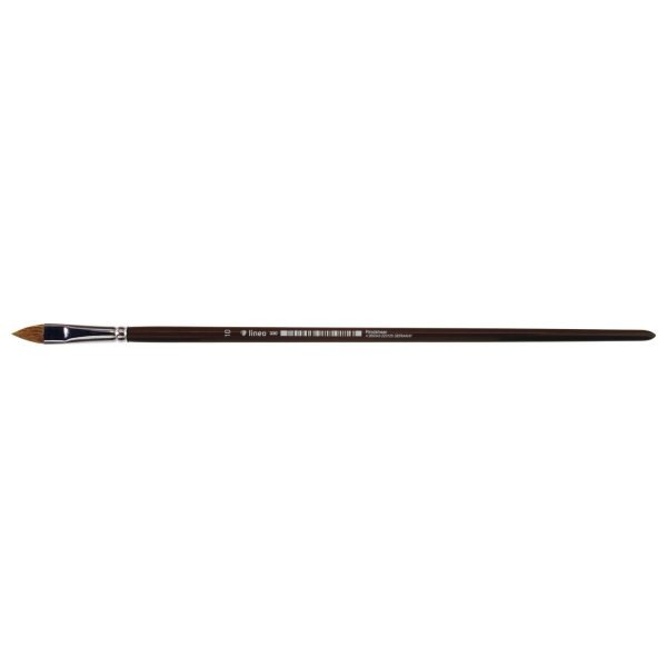 Oil and acrylic brush, filbert, pure light ox hair, seamless nickel ferrule, long brown-lacquered handle.
