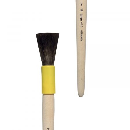 Gilder duster/mop brush, blunt form, pure squirrel hair, yellow plastic case, short not-lacquered handle.