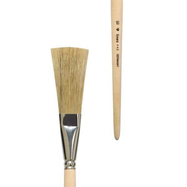 Special brush for ceramic, grey bristles, tin ferrule, short not-lacquered handle.