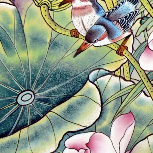 Bild gemalt auf Seide mit Seidenfarben und Pinsel