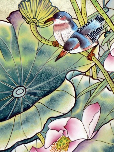 very detailed silk painting of two birds and flowers